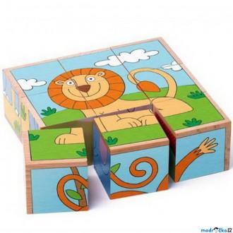Stavebnice - Kostky obrázkové 9ks - Exotická zvířata (Woody)