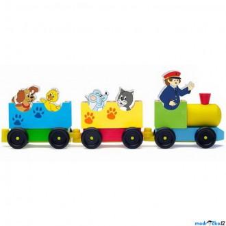 Dřevěné hračky - Vlak skládací - Vláček se zvířátky (Woody)