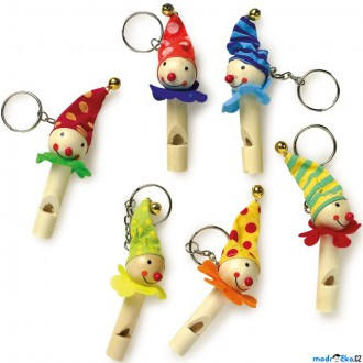 Dřevěné hračky - Hudba - Píšťalka přívěsek na klíče, Klauni, 1ks (Legler)