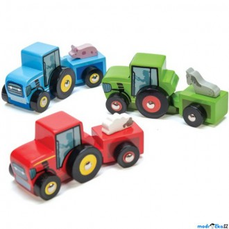Dřevěné hračky - Auto - Traktor dřevěný barevný, 1ks (Le Toy Van)