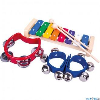 Dřevěné hračky - Hudba - Muzikální set, 3 nástroje (Bino)