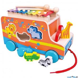 Dřevěné hračky - Vhazovačka - Auto se zvířátky a xylofónem (Mertens)