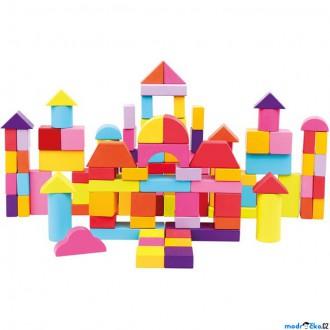 Stavebnice - Kostky - Barevné v kyblíku, Nové barvy, 100ks (Bino)