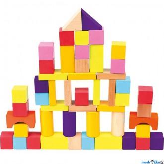 Stavebnice - Kostky - Barevné v kyblíku, Nové barvy, 50ks (Bino)