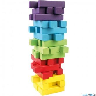 Dřevěné hračky - Jenga barevná - Hra věž, 60 kostiček + kostka (Bino)