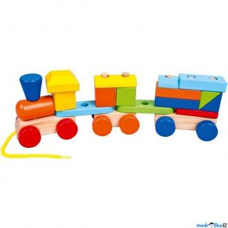 Dřevěné hračky - Vlak skládací - Barevný vláček s 2 vagóny (Mertens)
