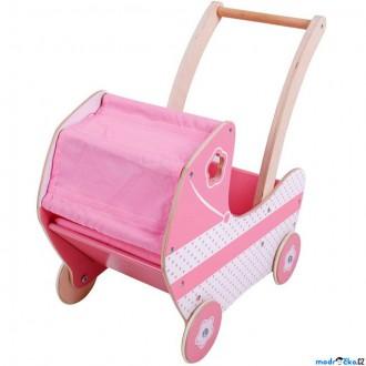 Dřevěné hračky - Kočárek pro panenky - Dřevěný, Růžový (Bigjigs)