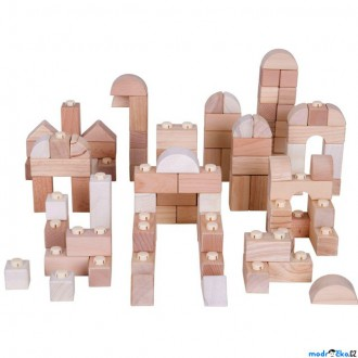 Stavebnice - Kostky - Dřevěné spojkostky, Set natur, 100ks (Bigjigs)