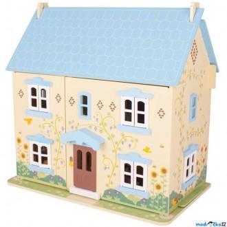 Dřevěné hračky - Domeček pro panenky - Modrý s vybavením (Bigjigs)