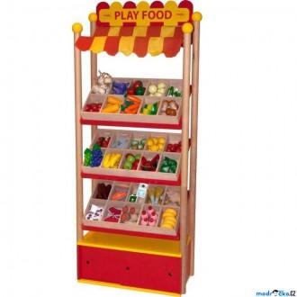 Dřevěné hračky - Prodejna - Prodejní pult dřevěných potravin (Bigjigs)