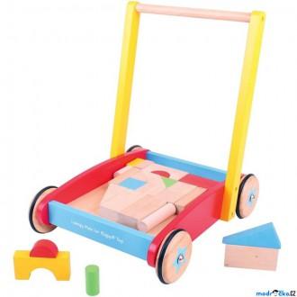 Stavebnice - Kostky - Barevné ve vozíku, Chodítko, 25ks (Bigjigs)