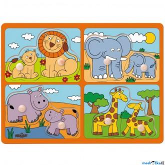 Pro nejmenší - Puzzle vkládací - Safari zvířata s mláďaty, 8ks (Woody)