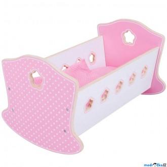 Dřevěné hračky - Kolébka pro panenky - Dřevěná s peřinkami (Bigjigs)