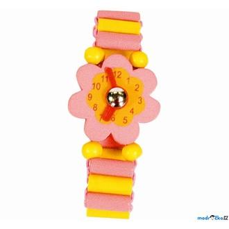 JIŽ SE NEPRODÁVÁ - Dřevěná bižuterie - Hodinky růžové květina (Bino)