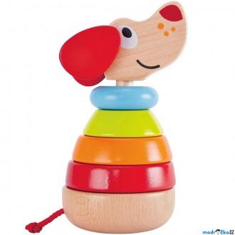Dřevěné hračky - Skládačka s kroužky - Pejsek Pepe se zvukem (Hape)