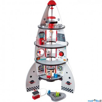 Dřevěné hračky - Vesmír - Dřevěná čtyřpatrová vesmírná raketa (Hape)