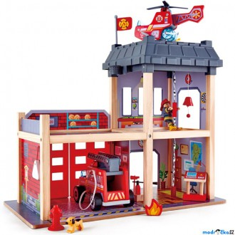 Dřevěné hračky - Hasičská stanice - Dřevěný hrací set s autem (Hape)