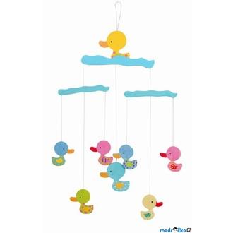 Dřevěné hračky - Kolotoč závěsný dřevěný - Kačenky, pastelové barvy (Legler)