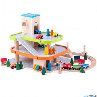 Dřevěné hračky - Garáž dřevěná - Třípodlažní s výtahem, oblá (Woody)