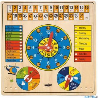 Dřevěné hračky - Hodiny - S kalendářem a barometrem ANGLIČTINA (Woody)