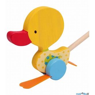 Dřevěné hračky - Jezdík na tyči - Plácačka, Kačenka žlutá (Legler)