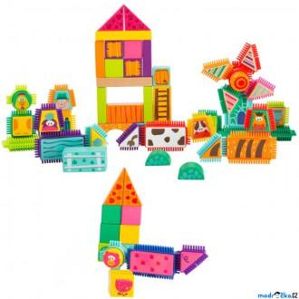 Stavebnice - Kostky - Barevné v kyblíku, Vhazovačka, Farma, 80ks (Legler)