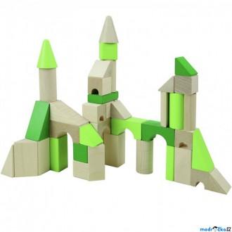 Stavebnice - Kostky - Barevné, Dřevěné kostky XL, 45ks (Detoa)