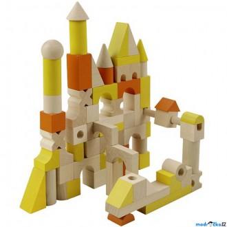 Stavebnice - Kostky - Barevné, Dřevěné kostky L, 96ks (Detoa)