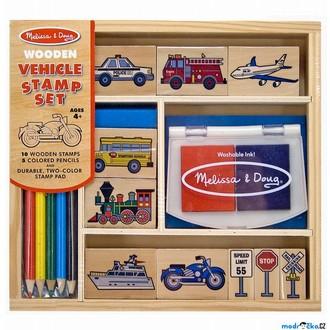 Dřevěné hračky - Razítka dřevěná - Set dopravní prostředky (M&D)
