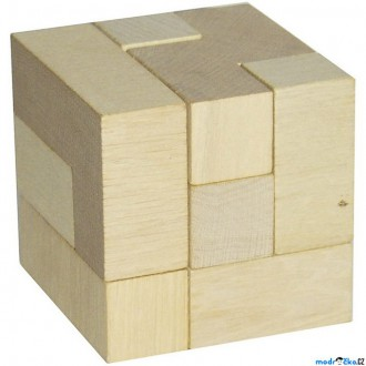 Puzzle a hlavolamy - Hlavolam dřevěný - Kostka 3D přírodní (Detoa)
