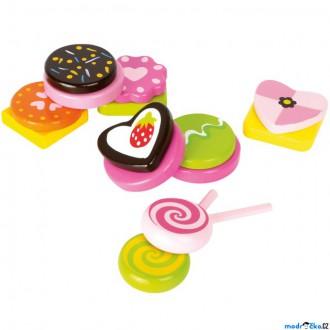 Dřevěné hračky - Dekorace prodejny - Set dřevěných sladkostí (Legler)
