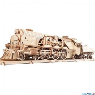Stavebnice - 3D mechanický model - Lokomotiva V-Express s vagónem (Ugears)