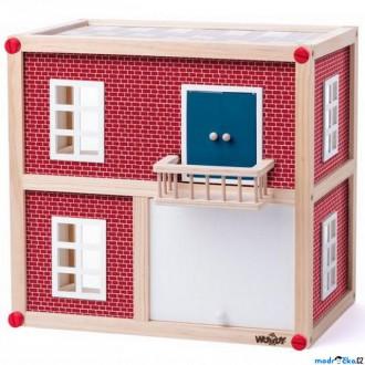 Dřevěné hračky - Domeček pro panenky - Kostka s garáží (Woody)