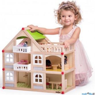Dřevěné hračky - Domeček pro panenky - Dvoupatrový s balkonem (Woody)