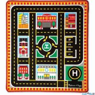 Dřevěné hračky - Dětský koberec - Záchranáři + 4 dřevěné autíčka (M&D)