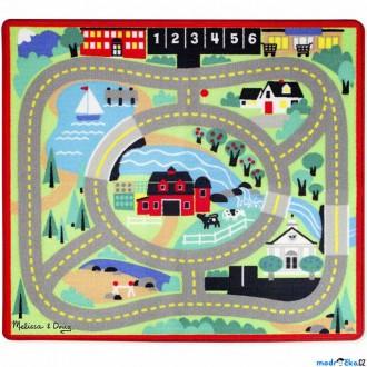 Dřevěné hračky - Dětský koberec - Farma + 4 dřevěné autíčka (M&D)