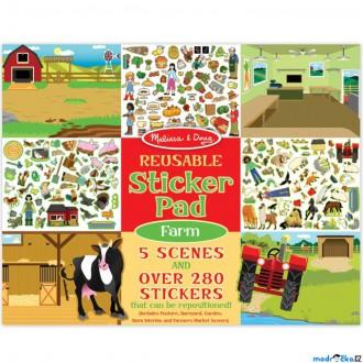 Dřevěné hračky - Samolepky - Opakovaně použitelné, Farma, 280ks (M&D)