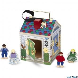 Dřevěné hračky - Domeček pro panenky - Se zámky, zvonky a panenkami (M&D)