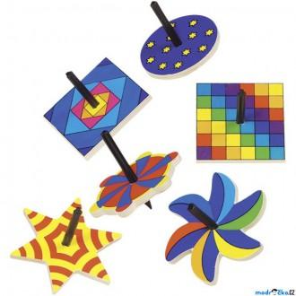 Dřevěné hračky - Drobné hračky - Káča dřevěná, Tvary, 1ks (Goki)