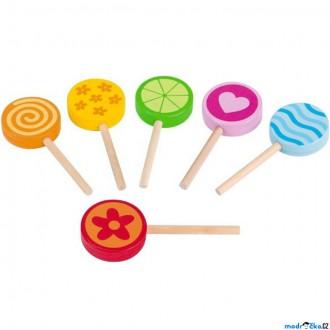 Dřevěné hračky - Dekorace prodejny - Lízátka dřevěná, 6ks (Goki)
