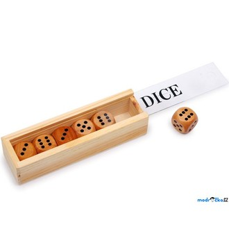 JIŽ SE NEPRODÁVÁ - Hrací kostka dřevěná - Malá 18mm přírodní, 6ks v krabičce (Legler)