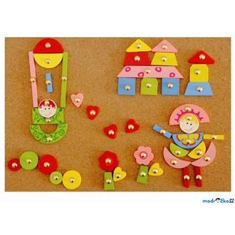 Dřevěné hračky - Hra s kladívkem - Deska s přibíjecími tvary, Růžová (Woddy)