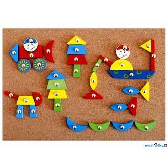 Dřevěné hračky - Hra s kladívkem - Deska s přibíjecími tvary, Auta (Woody)
