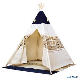 Na ven a sport - Indiánský stan - Dětské Teepee, béžovo-modrý (Bino)