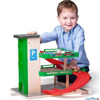 Dřevěné hračky - Garáž dřevěná - S výtahem a SIKU autíčky (Woody)