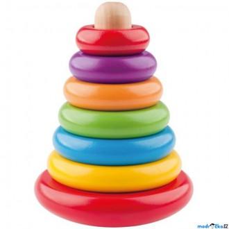 Dřevěné hračky - Skládačka - Káča, Pyramida barevná (Woody)