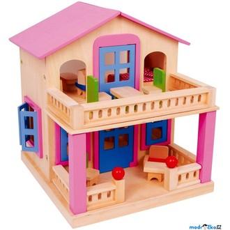 Dřevěné hračky - Domeček pro panenky - Klára, růžový s terasou (Legler)