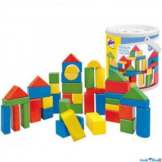 Stavebnice - Kostky - Barevné v kyblíku, Vhazovačka, 50ks (Woody)