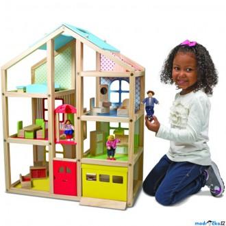 Dřevěné hračky - Domeček pro panenky - Patrový dům s výtahem (M&D)