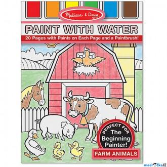 Dřevěné hračky - Omalovánky - Malování s vodou, Zvířata na farmě (M&D)